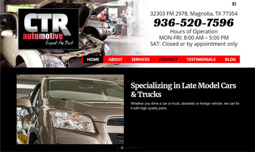 CTR Automotive website design