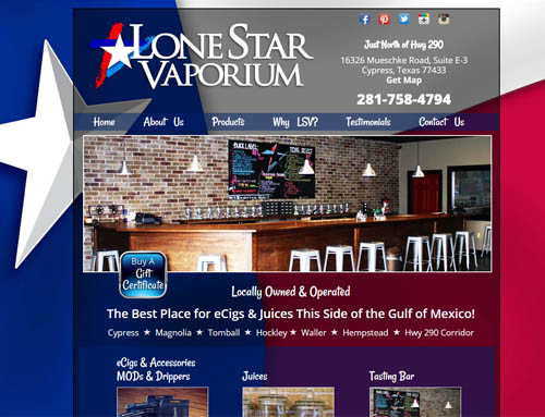 Lone Star Vaporium website design